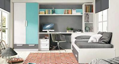 dormitorio matrimonio en roble combinado con blanco pizarra